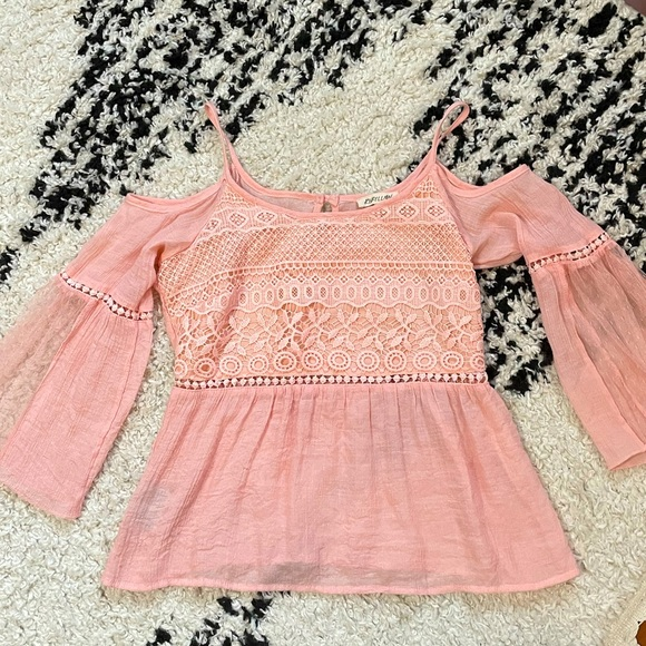 Pink flowy top